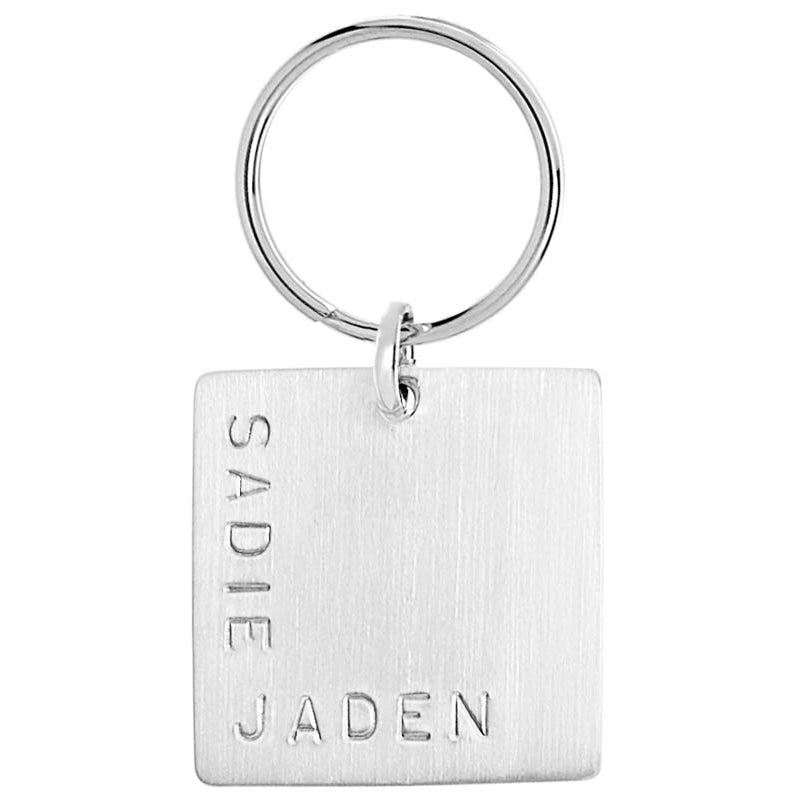 Square Silver Keychain