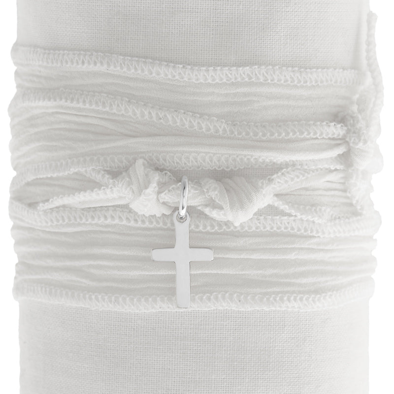 White Silk Wrap with Cross
