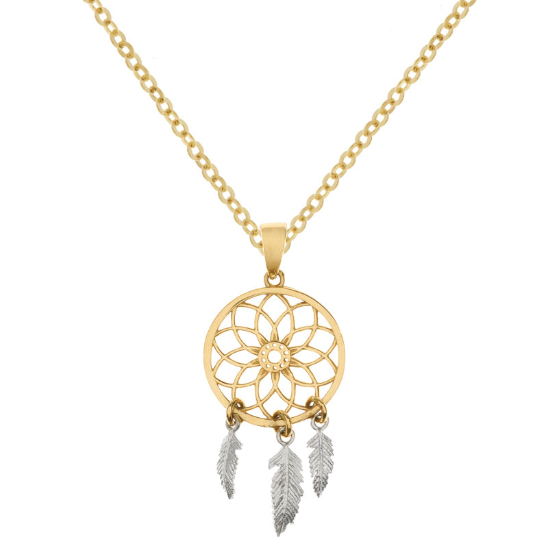 Yellow Gold Dreamcatcher Necklace