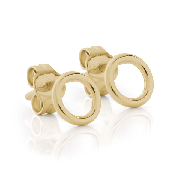 Yellow Gold Circle Stud Earrings
