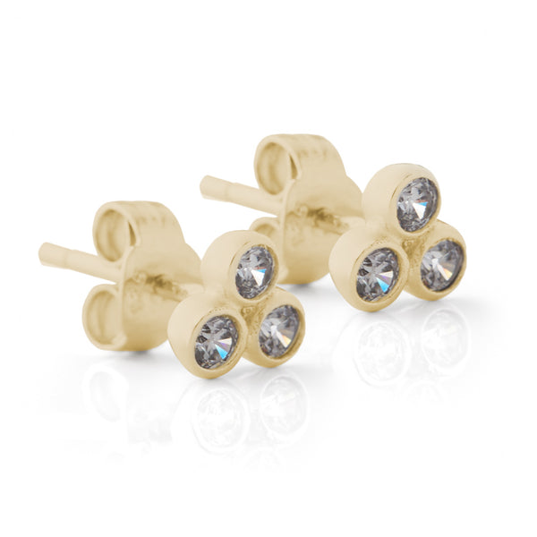 Yellow Gold Trio Stud Earrings