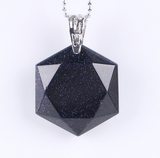 Faceted-Hexagonal-Natural-Gemstone-Necklace-Blue-Goldstone