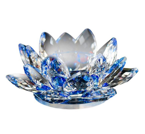 Glass crystal lotus flower candle holder glass crystal lotus flower candle holder blue mightylinksfo