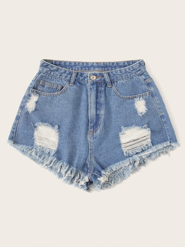 Demi Denim Ripped Shorts