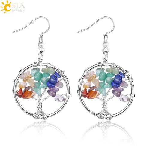 CSJA Tree of Life Chakra Healing Earrings In 14 Colors (Perfect Gift)