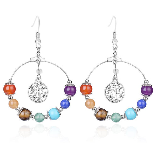 Nice 7 Chakra Tree of Life Crystal Healing Earrings (Perfect Gift)