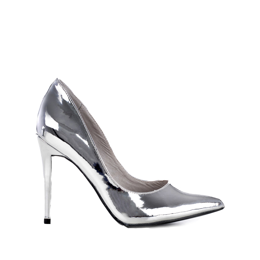 ANNE MICHELLE Dedicate-01M Metallic Closed Toe Stiletto Heels