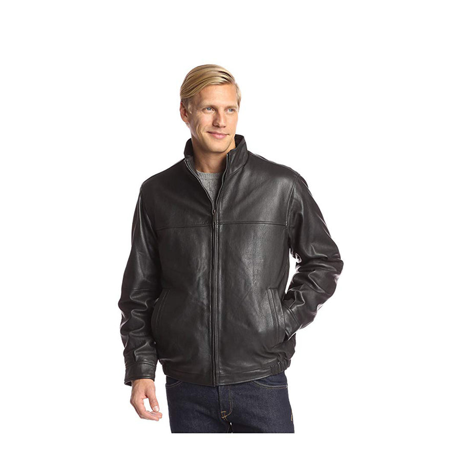 Perry Ellis Men's Leather Zip Front with Stand Collar Jacket