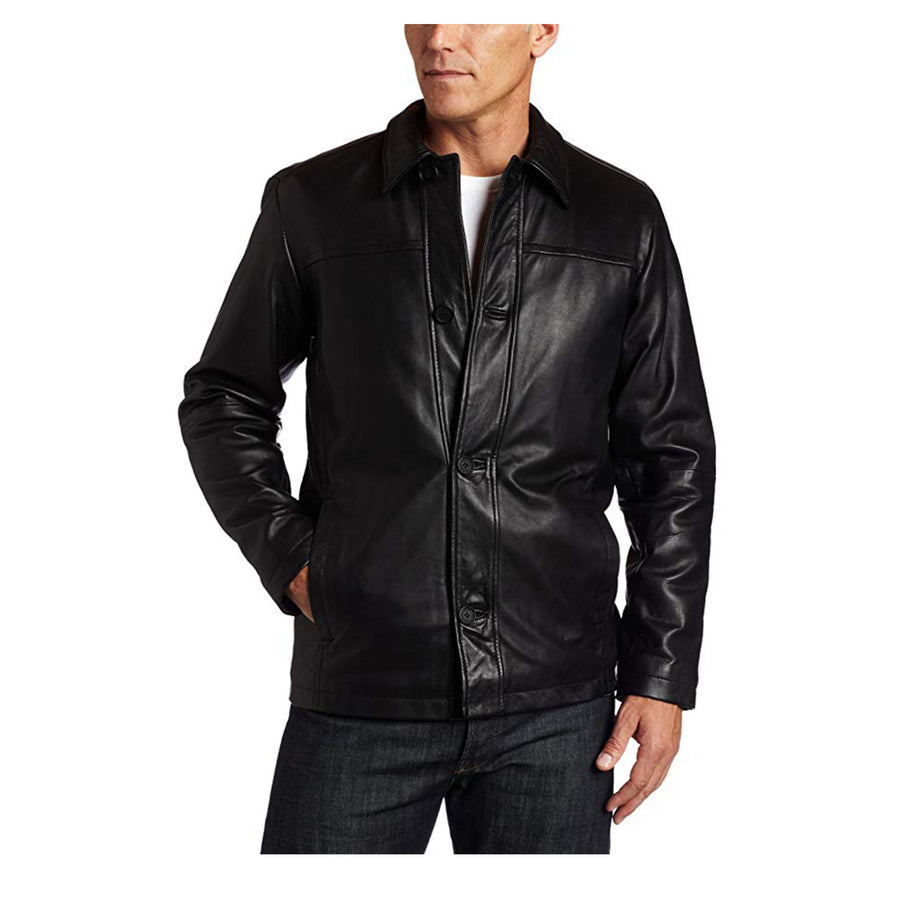 Perry Ellis Men's Lambskin Leather Button Front Jacket