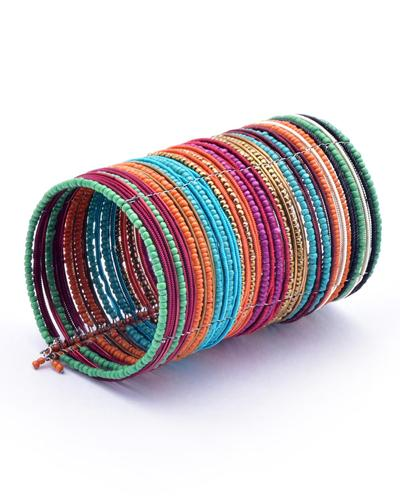 STACKABLE MULTI-COLORED BEADED CUFF BRACELET