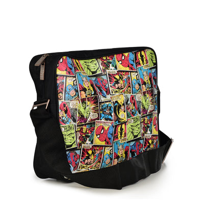RETRO MARVEL COMICS ALLOVER CHARACTER MESSENGER BAG