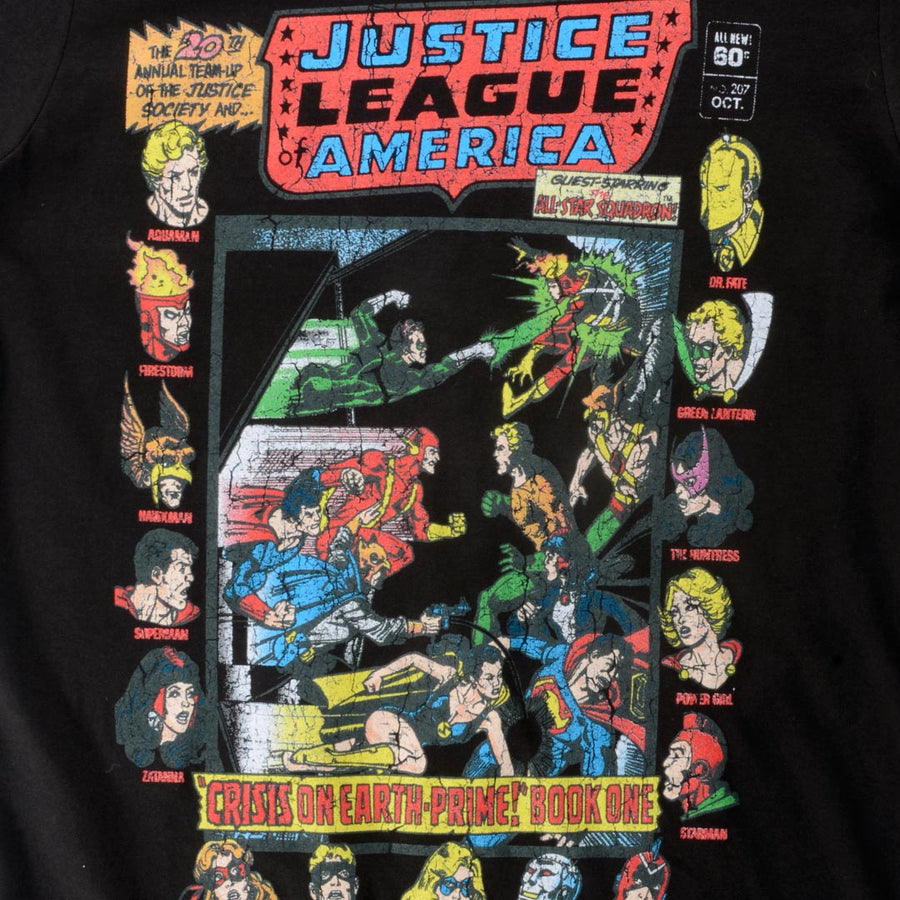 JUSTICE LEAGUE OF AMERICA CRISIS ON EARTH PRIME WOMEN'S T-SHIRT