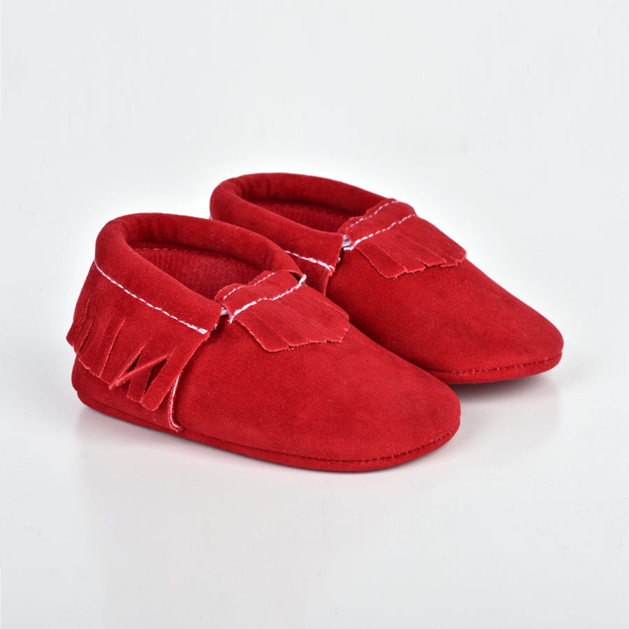 EMERSON AND FRIENDS SUEDE BABY MOCCASINS