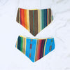 SELVEDGE DRY GOODS BABY SERAPE BANDANA BIB IN TURQUOISE & BROWN