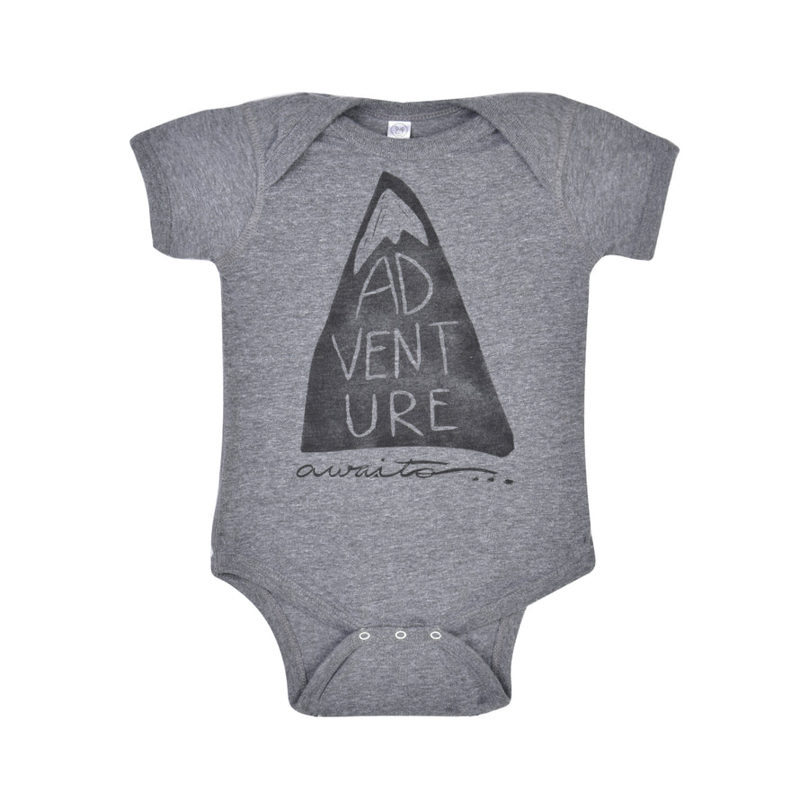 "BIRD AND ELEPHANT ""ADVENTURE AWAITS"" BABY BODYSUIT"