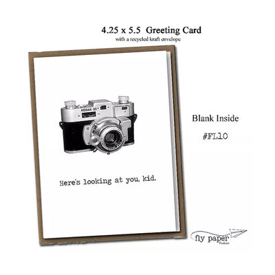 "FLY PAPER PRODUCTS ""HERE'S LOOKING AT YOU, KID"" CARD"