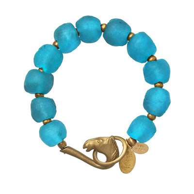 WE DREAM IN COLOR CERULEAN RECYCLED GLASS BRACELET