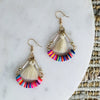 NEON BOHEMIANS LAUPER RAINBOW HOOP EARRINGS IN CREAM