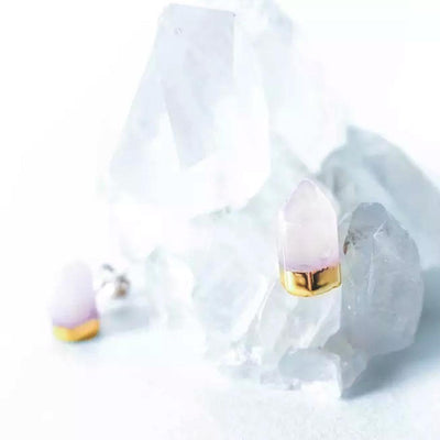 JAX KELLY GOLD DIPPED QUARTZ POINT STUDS