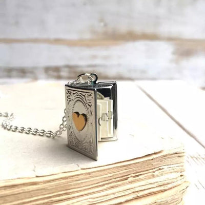 SILVER BOOK SECRET MESSAGE LOCKET