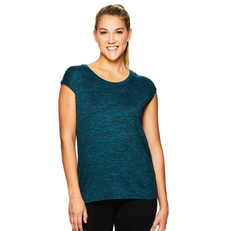 GAIAM WOMEN'S ATHENA COWL SHORT SLEEVE TOP