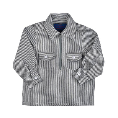 HICKORY RAILROAD STRIPE ZIP SHIRT- TODDLERS