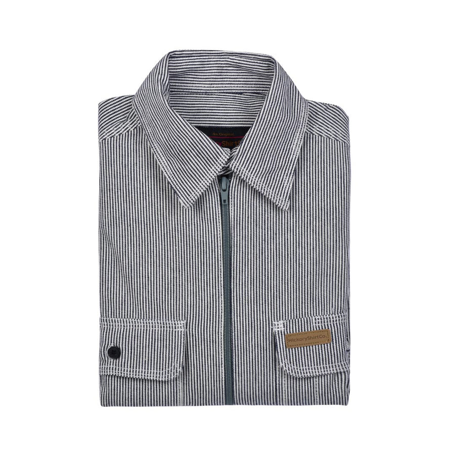 HICKORY RAILROAD STRIPE ZIP SHIRT- MEN'S - Life Soleil