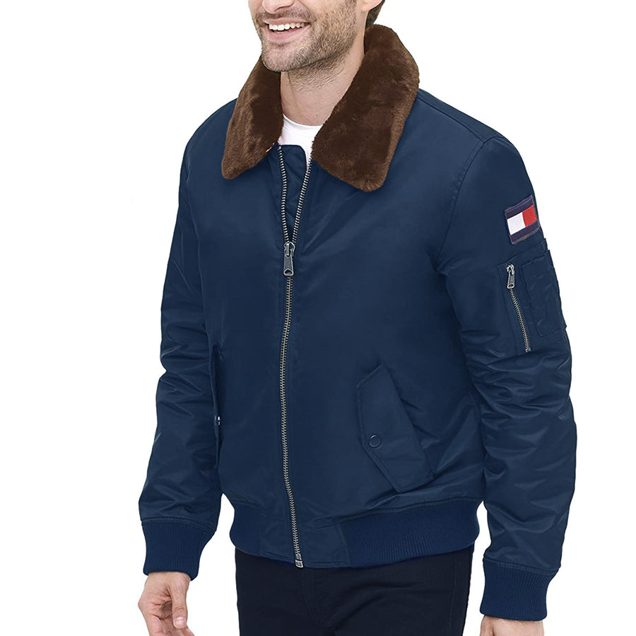 TOMMY HILFIGER FLIGHT BOMBER WITH FAUX FUR TRIM ON COLLAR