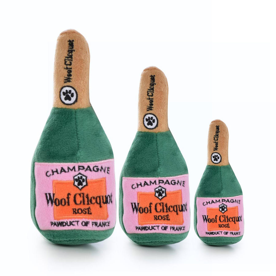 WOOF CLICQUOT CHAMPAGNE SQUEAK PLUSH DOG TOY