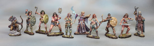 All 10 Female Amazons Miniatures Set