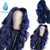 Dark Blue Lace Front Wigs with Pre Plucked Hairline