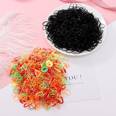 200/1000PCS Colorful Ring Disposable Elastic  Ponytail Holder Rubber Band