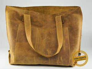 Large bare leather shoulder bag