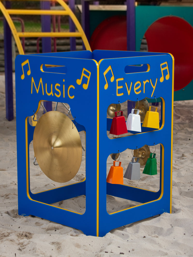 Outdoor Music Station: Xylophones, Triangles, Cymbal, and Cowbells