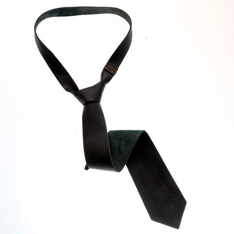 Leather Tie - Chrome Black - The Maximus Man