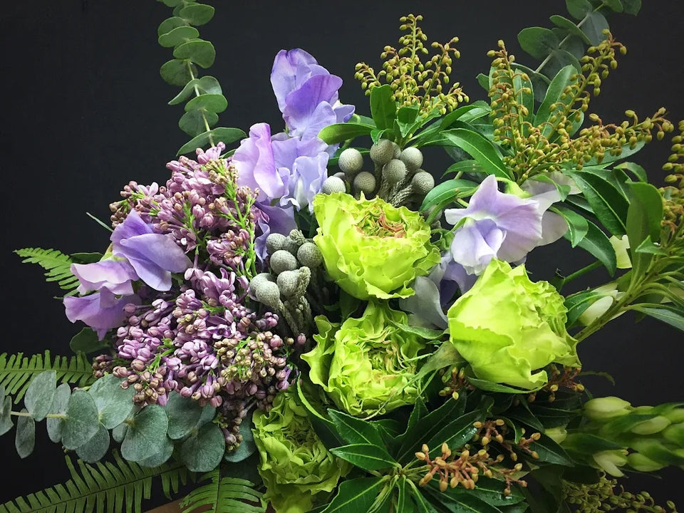 whimsical purple and green bouquet