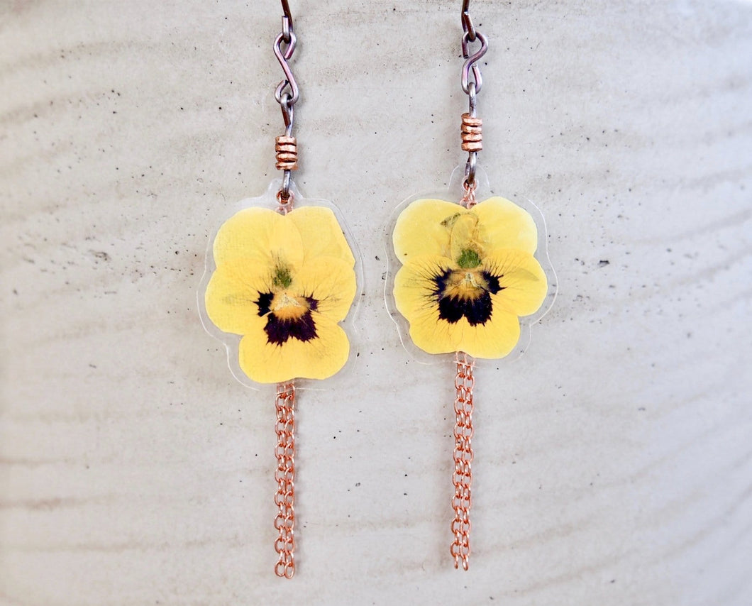 Yellow Pansy Earrings - Small Batch Available