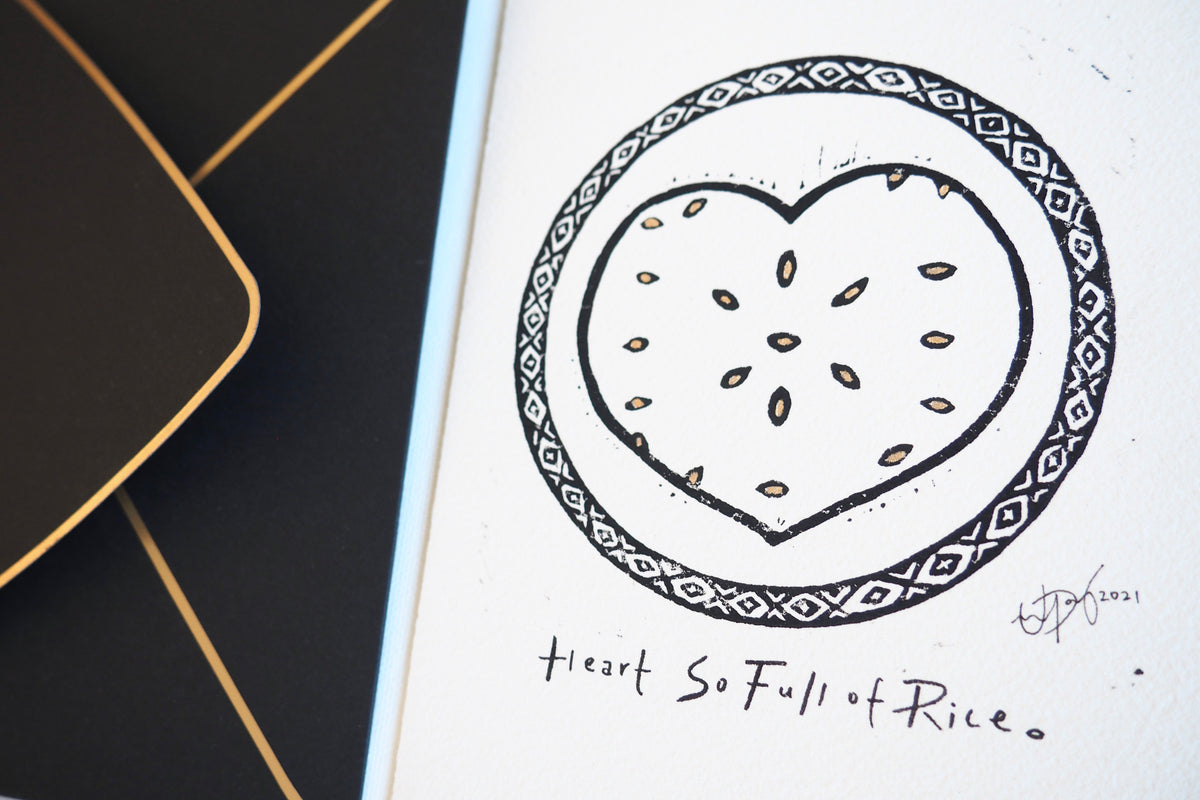 "'Heart So Full of Rice' Linocut Art Print Greeting Card - 5""x7"" Blank Card & Envelope"