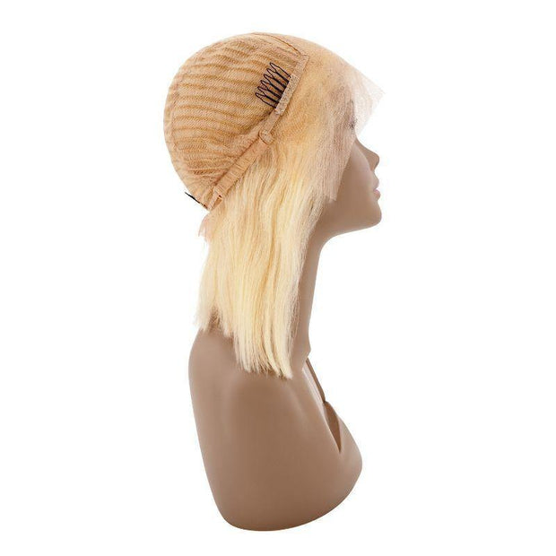 100% Human Hair Blonde Front Lace Bob Wig - Bone Straight - Farrah Beauty
