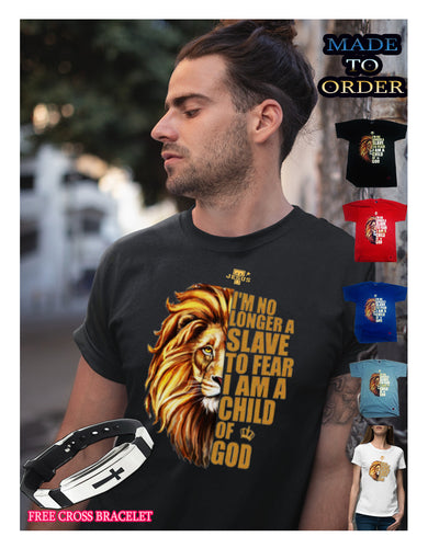 Buy I'm no longer slave to fear Christian street wear.Free cross bracelet and Free shipping today's promo