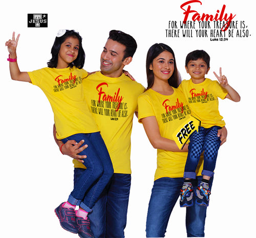 Buy Family Shirt Where your treasure is there your heart also.GET 1 FREE SHIRT. PLUS CROSS BRACELET