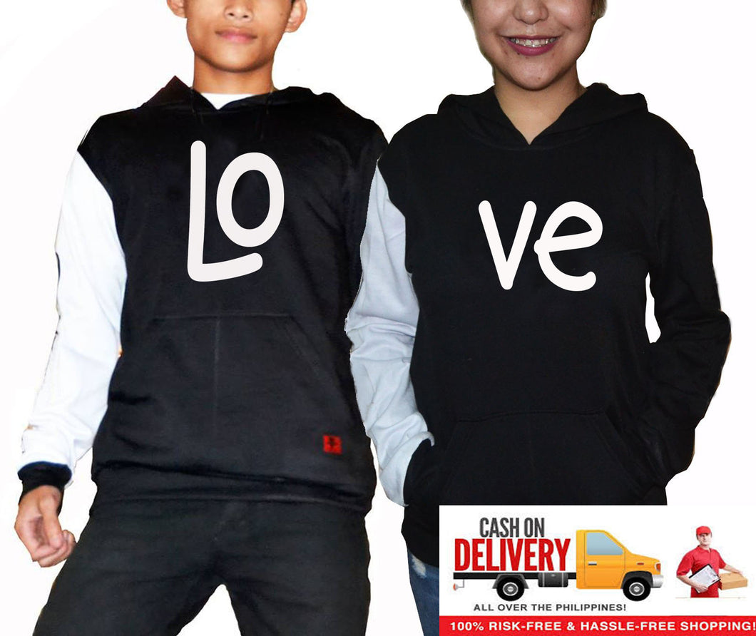 LOVE Couple Hoodie Combination Color Black and White