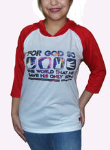 Load image into Gallery viewer, JOHN 3:16 Raglan with hood - TJesus Apaprel