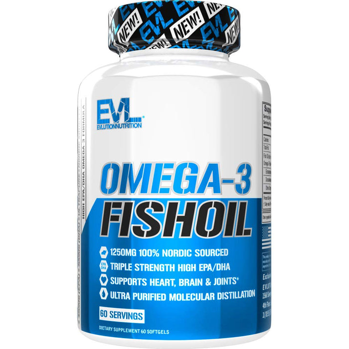 Evlution Nutrition Omega 3 Fish Oil 1250mg - 60 Servings