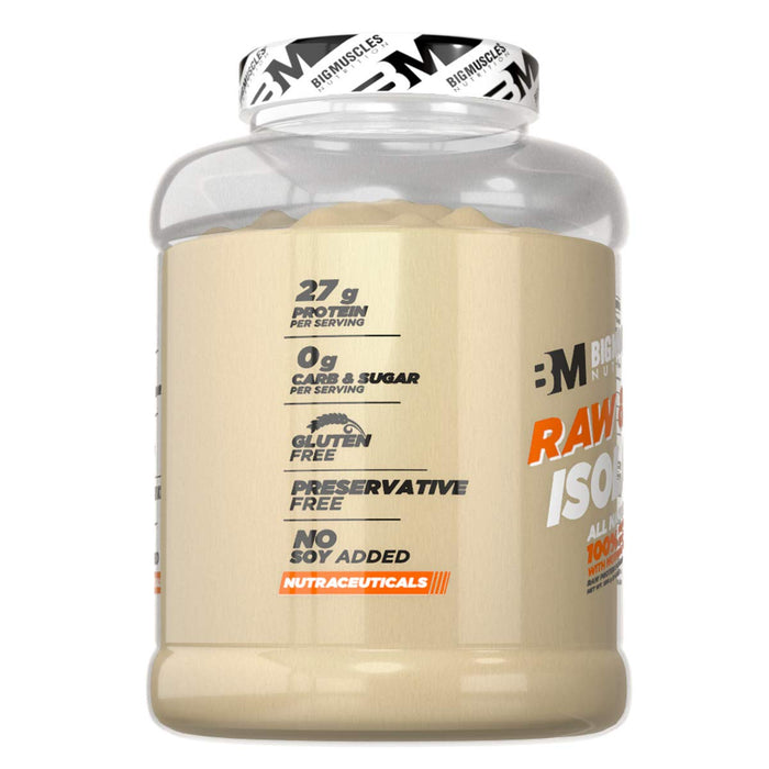 Bigmuscles Nutrition Raw & Real Isolate Organic Whey Protein [2kg] - Natural - 90% Protein, Additive Free, Unflavored, 27g Protein With Naturally Occurring BCAA and Glutamine per serving