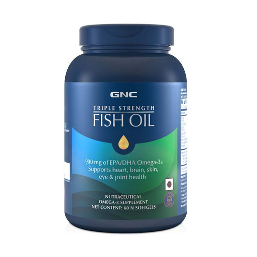 GNC Triple Strength Fish Oil 1500mg Omega-3 Supplement - 1500mg of Omega 3s including 540 mg EPA & 360 mg DHA - (60 Softgels)