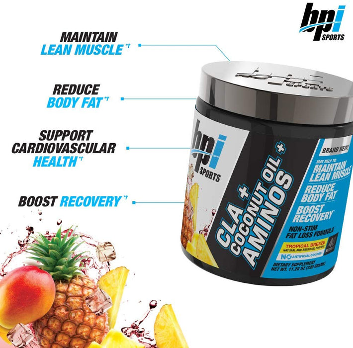 BPI CLA+ Coconut Oil + Amino, Serving 40, Net Wt 9.8 Oz (280 Gm)
