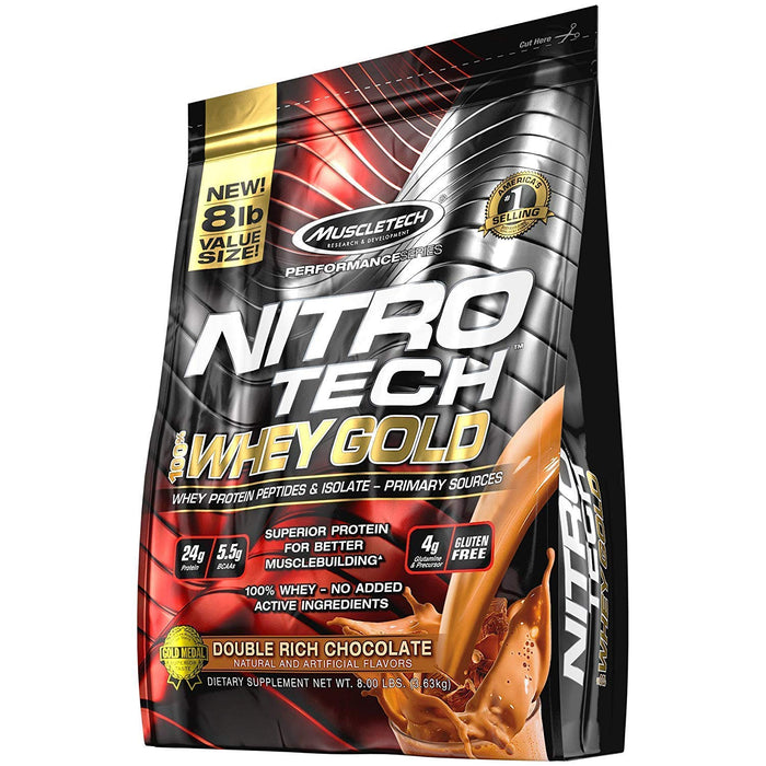 Muscletech Performance Series Nitrotech Whey Gold (Whey Protein Peptides & Isolate, Net Wt 8 LBS 3.63 KG