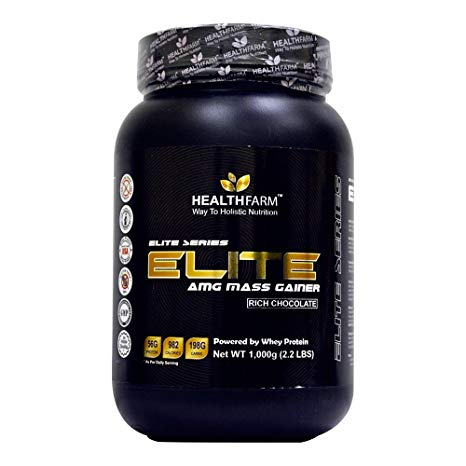 Healthfarm Elite AMG Mass Gainer (Rich Chocolate), Serving 300g, Net Wt 1,000g (2.2Lbs)