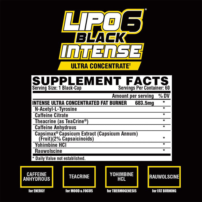 Nutrex Research Nutrex Lipo-6 Black Intense Ultra Concentrate | 60Count, 60.0 Count
